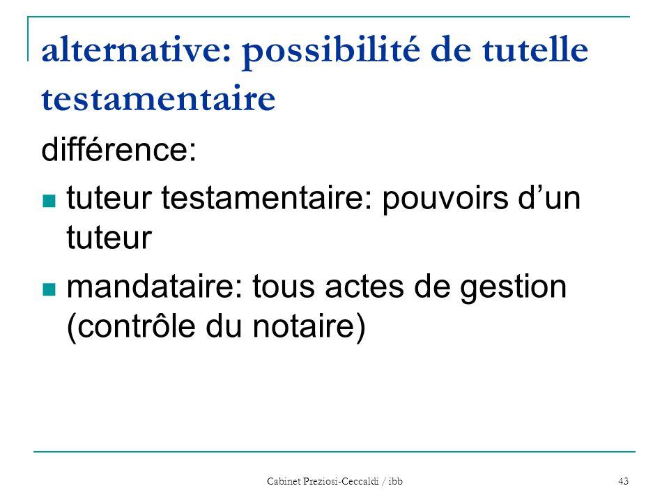 Cabinet Preziosi-Ceccaldi / ibb 43 alternative: possibilité de tutelle testamentaire différence: tuteur testamentaire: pouvoirs d'un tuteur mandataire