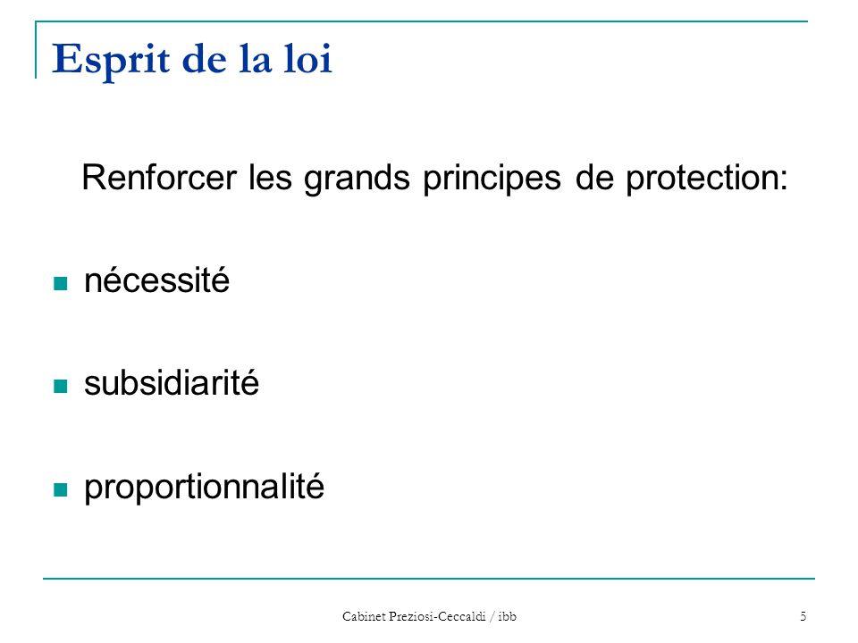 Cabinet Preziosi-Ceccaldi / ibb 5 Esprit de la loi Renforcer les grands principes de protection: nécessité subsidiarité proportionnalité
