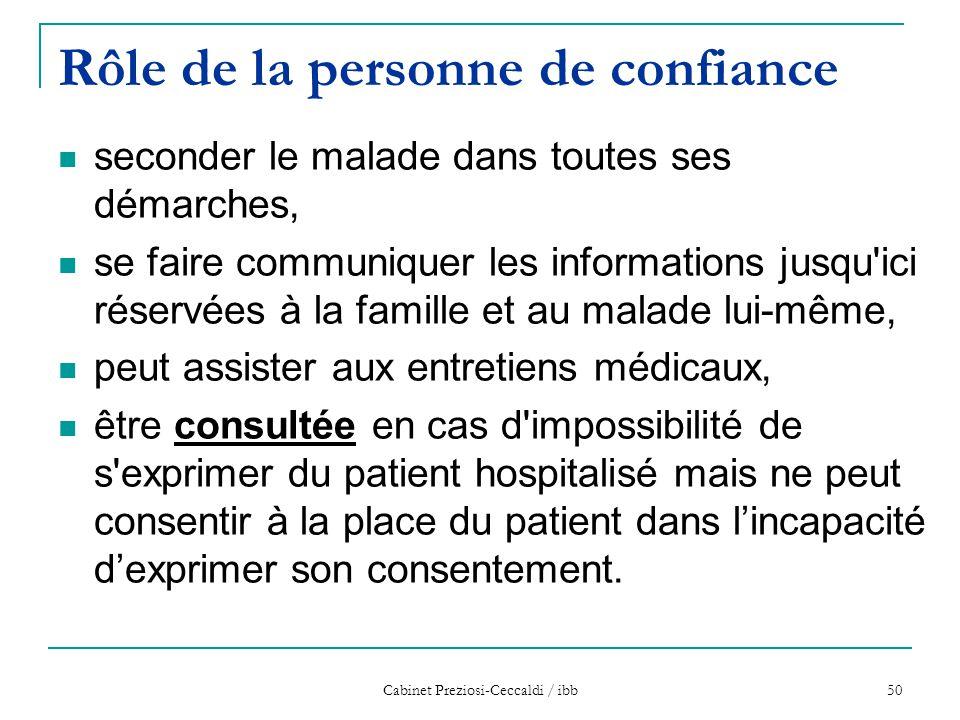 Cabinet Preziosi-Ceccaldi / ibb 50 Rôle de la personne de confiance seconder le malade dans toutes ses démarches, se faire communiquer les information