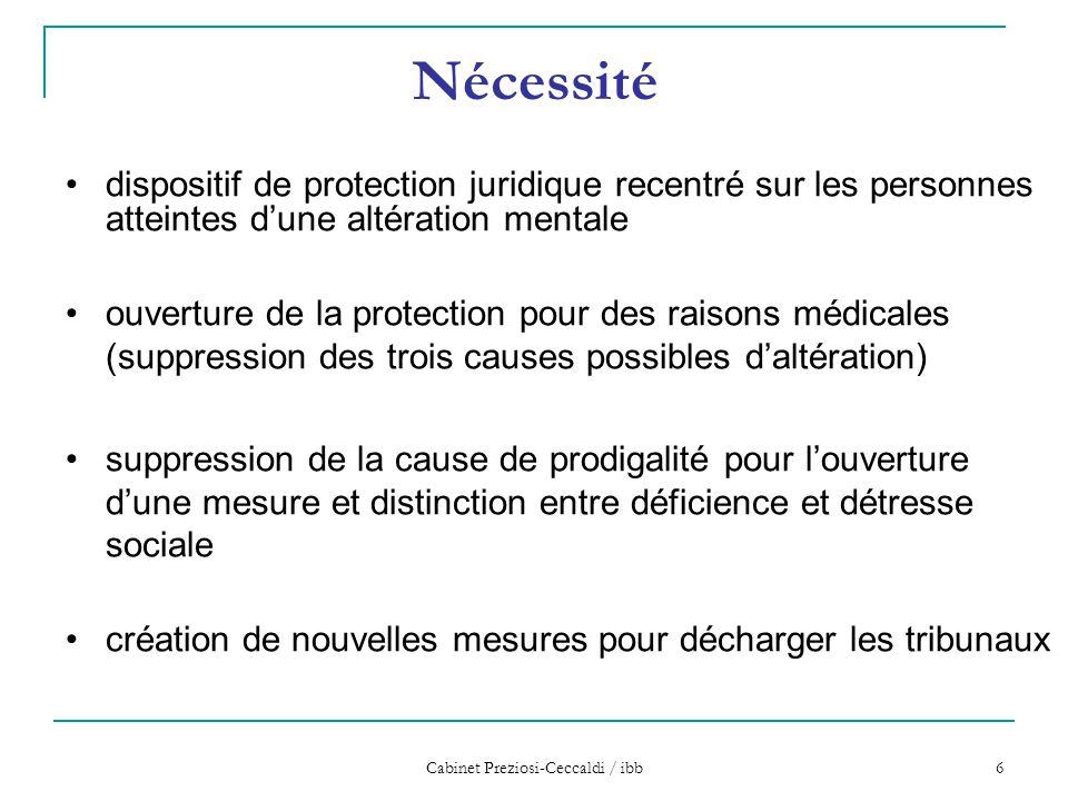 Cabinet Preziosi-Ceccaldi / ibb 6 Nécessité dispositif de protection juridique recentré sur les personnes atteintes d'une altération mentale ouverture
