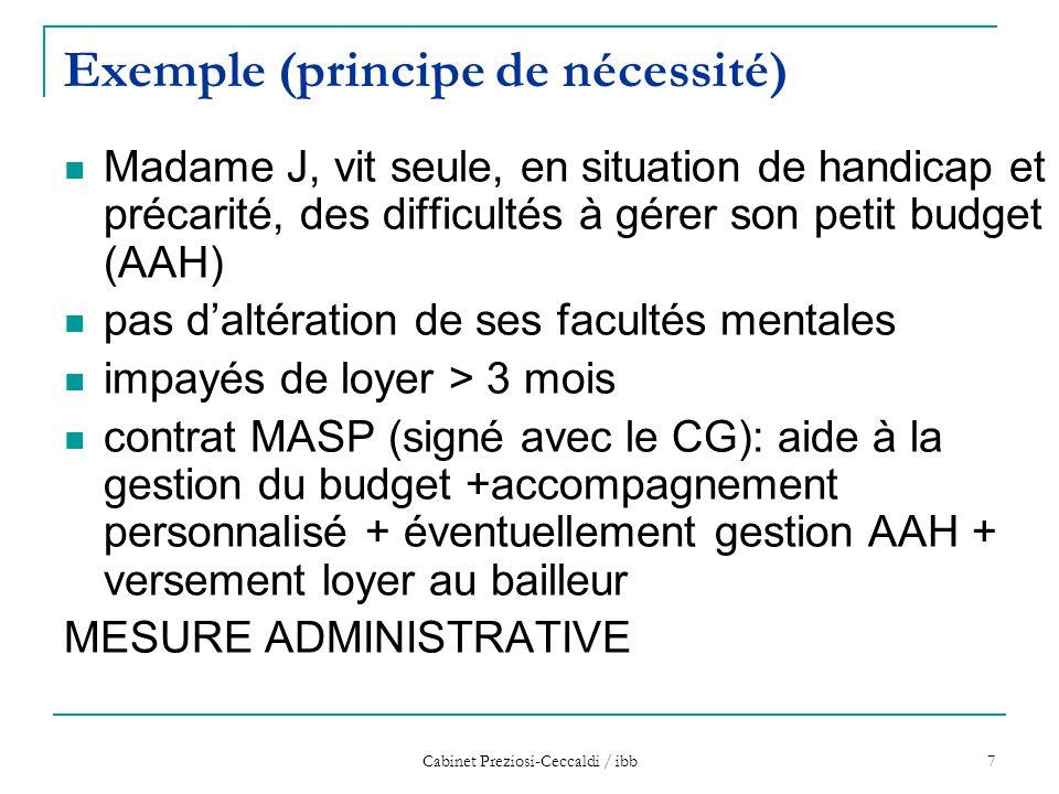 Cabinet Preziosi-Ceccaldi / ibb 7 Exemple (principe de nécessité) Madame J, vit seule, en situation de handicap et précarité, des difficultés à gérer
