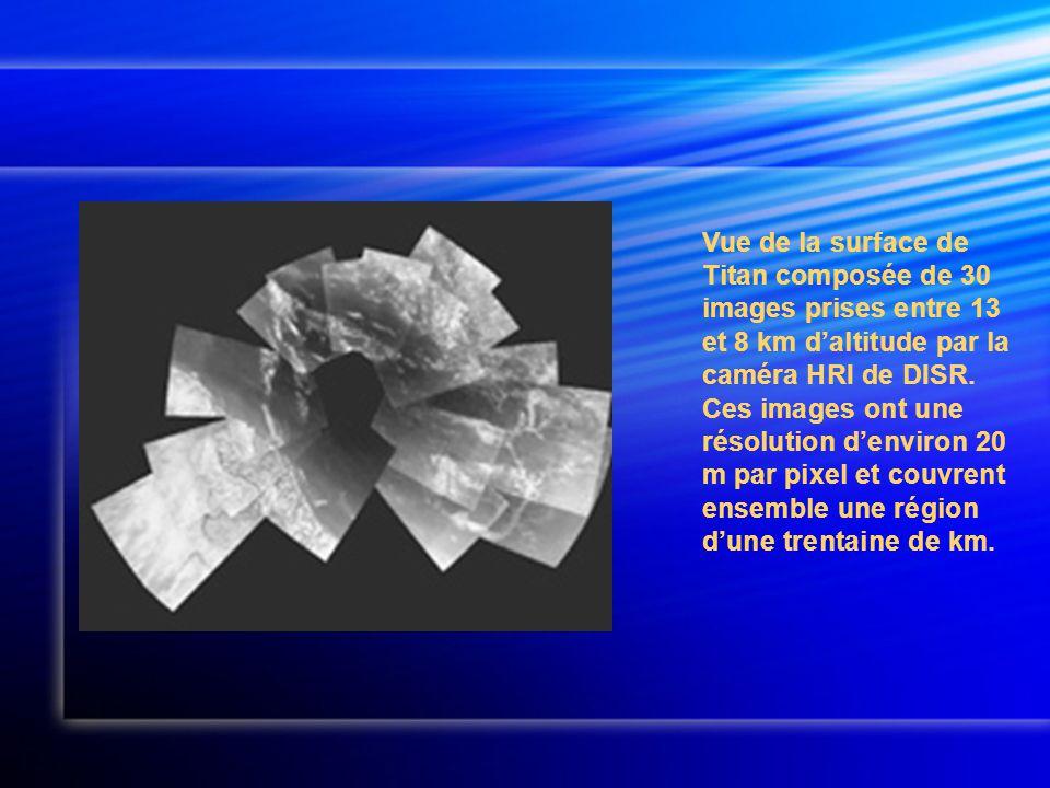 Vue de la surface de Titan composée de 30 images prises entre 13 et 8 km d'altitude par la caméra HRI de DISR.