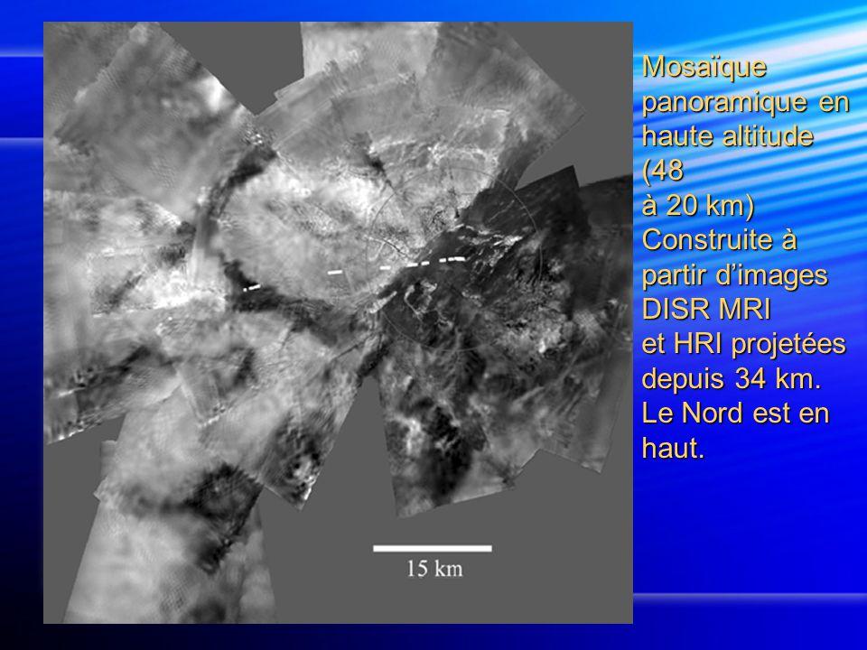Mosaïque panoramique en haute altitude (48 à 20 km) Construite à partir d'images DISR MRI et HRI projetées depuis 34 km.