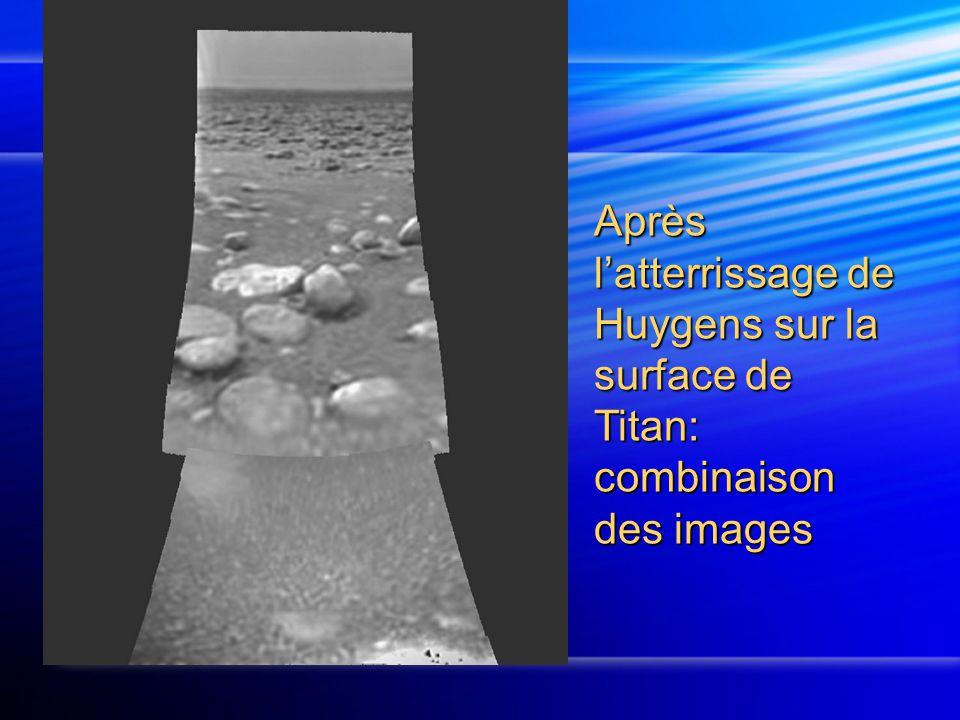Après l'atterrissage de Huygens sur la surface de Titan: combinaison des images