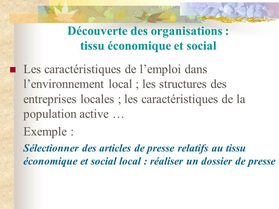 Découverte des organisations : tissu économique et social Les caractéristiques de l'emploi dans l'environnement local ; les structures des entreprises