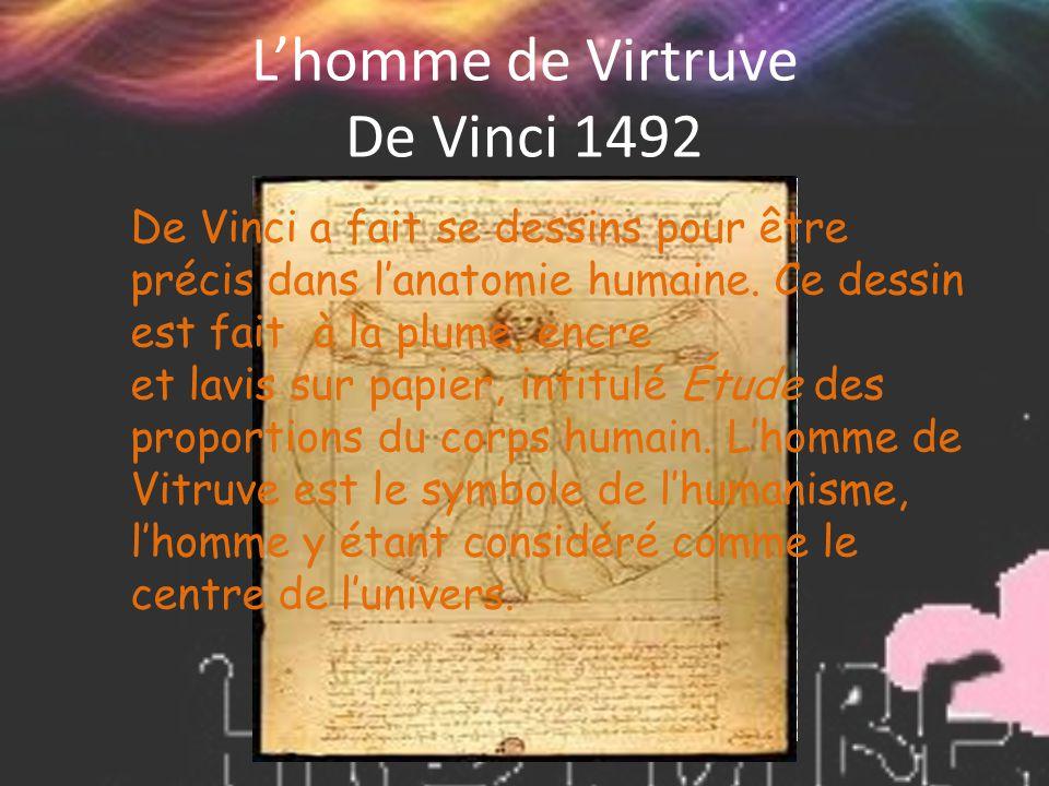 L'homme de Virtruve De Vinci 1492 De Vinci a fait se dessins pour être précis dans l'anatomie humaine. Ce dessin est fait à la plume, encre et lavis s