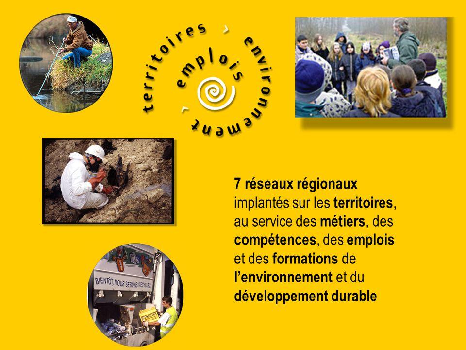 7 réseaux régionaux implantés sur les territoires, au service des métiers, des compétences, des emplois et des formations de l'environnement et du dév