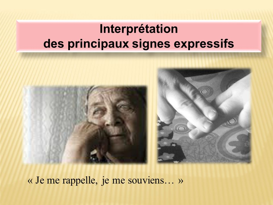 Interprétation des principaux signes expressifs Interprétation des principaux signes expressifs « Je me rappelle, je me souviens… »