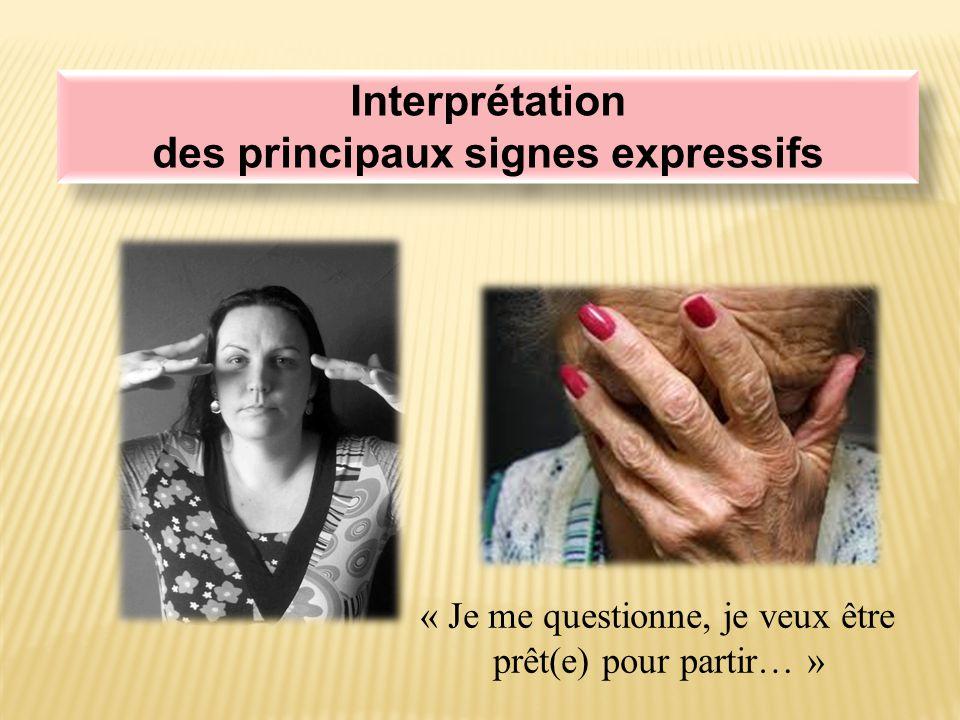Interprétation des principaux signes expressifs Interprétation des principaux signes expressifs « Je me questionne, je veux être prêt(e) pour partir… »
