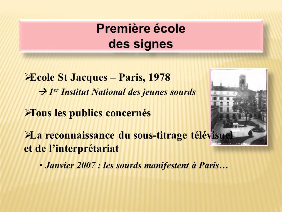 Première école des signes Première école des signes  Ecole St Jacques – Paris, 1978  1 er Institut National des jeunes sourds  Tous les publics concernés  La reconnaissance du sous-titrage télévisuel et de l'interprétariat Janvier 2007 : les sourds manifestent à Paris…