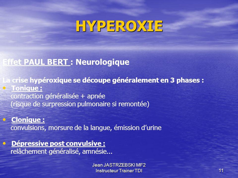 Jean JASTRZEBSKI MF2 Instructeur Trainer TDI10 PLONGEE AUX MELANGES 0.12 0.16 0.21 1.4 1.6 2.8 Valeurs remarquables de la Pp0² Anoxie hypoxie normoxie
