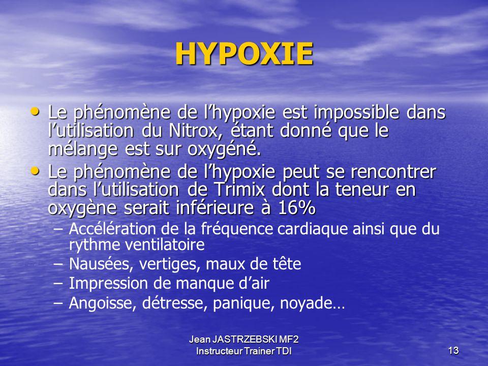 Jean JASTRZEBSKI MF2 Instructeur Trainer TDI12 HYPEROXIE Bien qu'apparaissant généralement d'emblée, la crise hypéroxique peut être précédée de signes