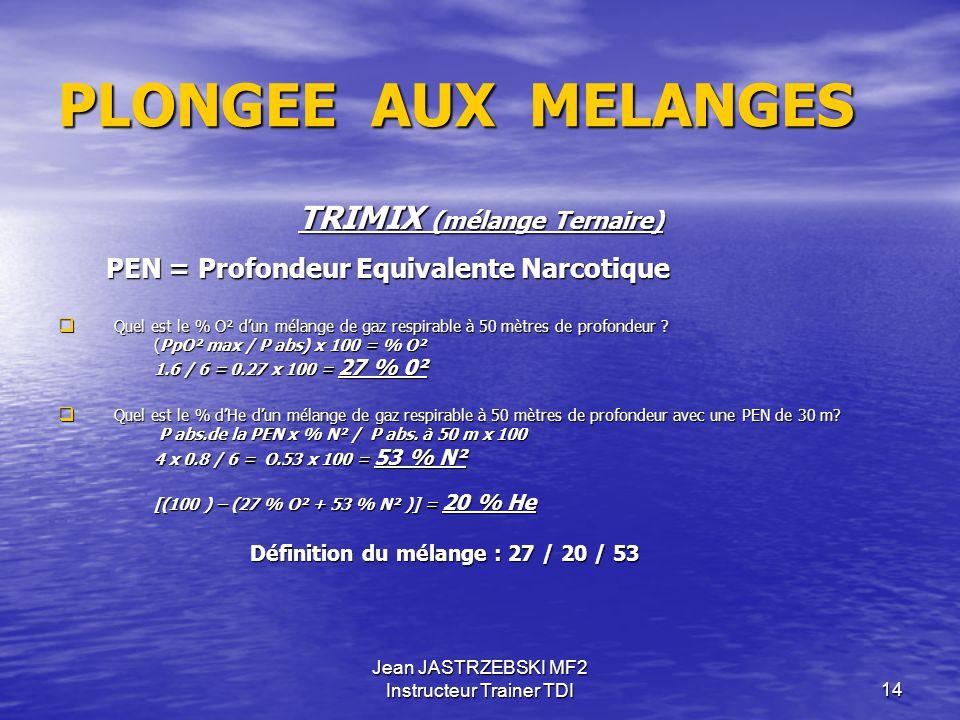 Jean JASTRZEBSKI MF2 Instructeur Trainer TDI13 HYPOXIE Le phénomène de l'hypoxie est impossible dans l'utilisation du Nitrox, étant donné que le mélan