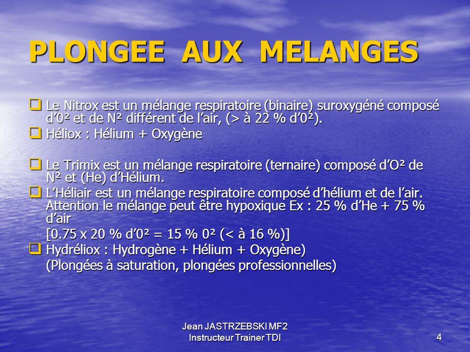 Jean JASTRZEBSKI MF2 Instructeur Trainer TDI14 PLONGEE AUX MELANGES TRIMIX (mélange Ternaire) PEN = Profondeur Equivalente Narcotique  Quel est le % O² d'un mélange de gaz respirable à 50 mètres de profondeur .