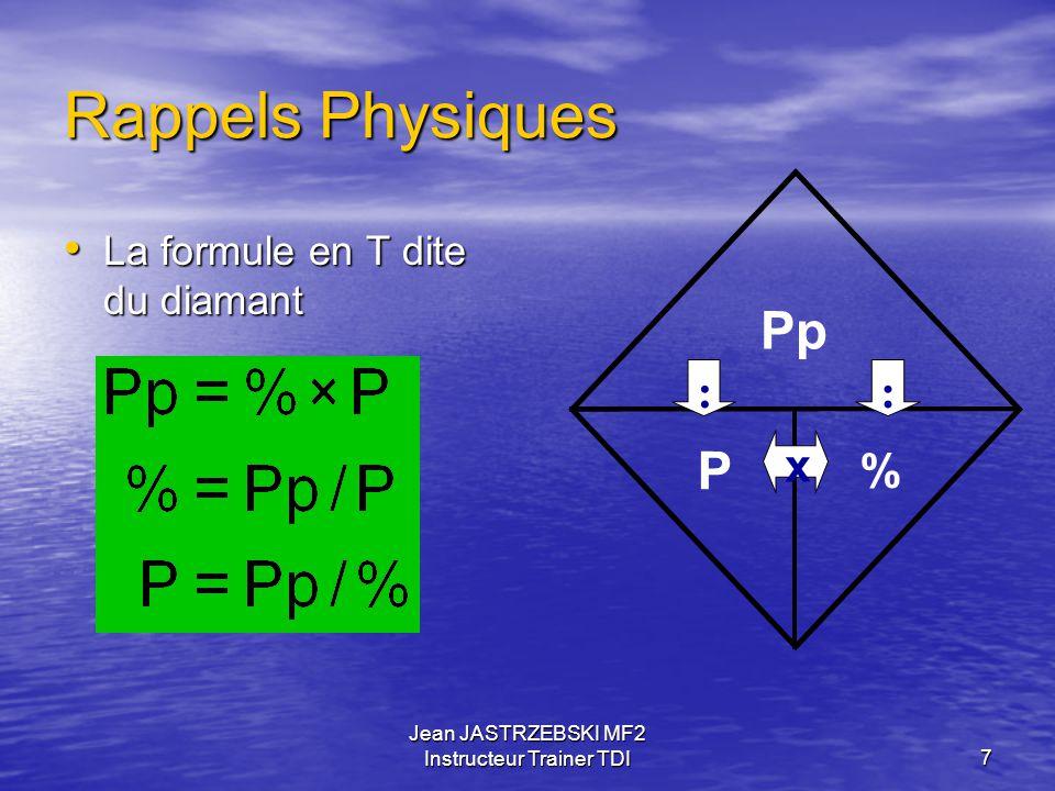 Jean JASTRZEBSKI MF2 Instructeur Trainer TDI6 Rappels Physiques Loi de DALTON P total = P gaz 1 + Pgaz 2 + … P gaz n P total = P gaz 1 + Pgaz 2 + … P