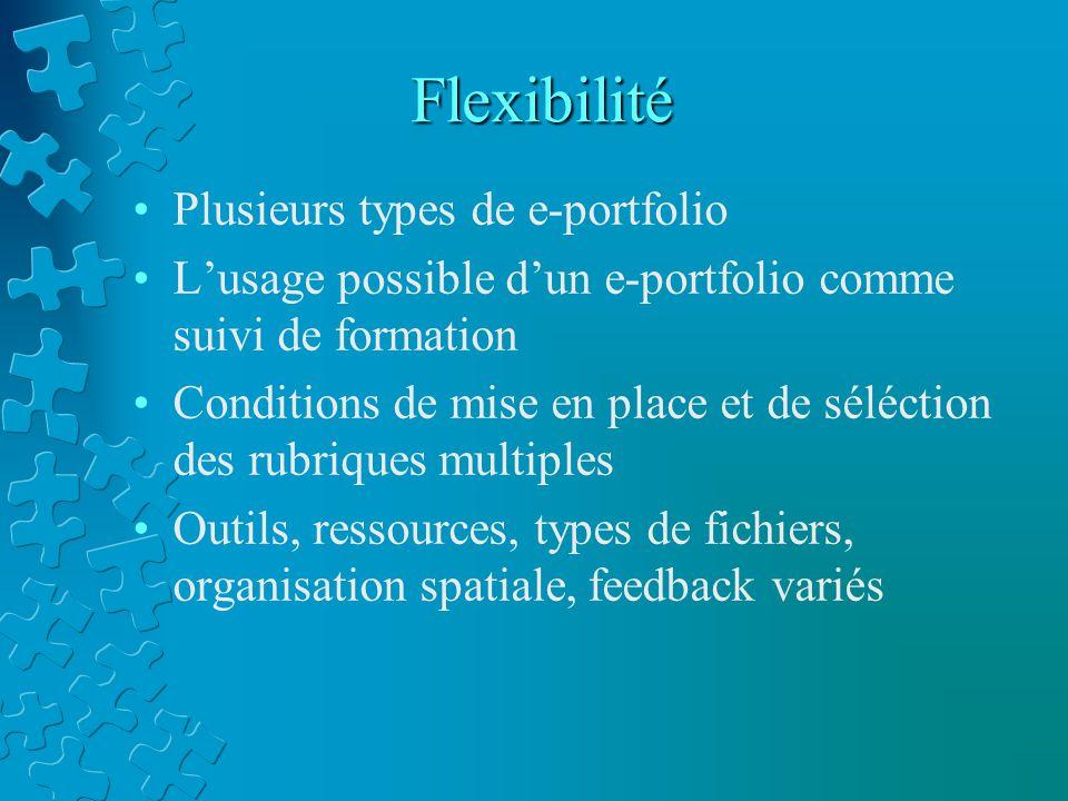Flexibilité Plusieurs types de e-portfolio L'usage possible d'un e-portfolio comme suivi de formation Conditions de mise en place et de séléction des rubriques multiples Outils, ressources, types de fichiers, organisation spatiale, feedback variés