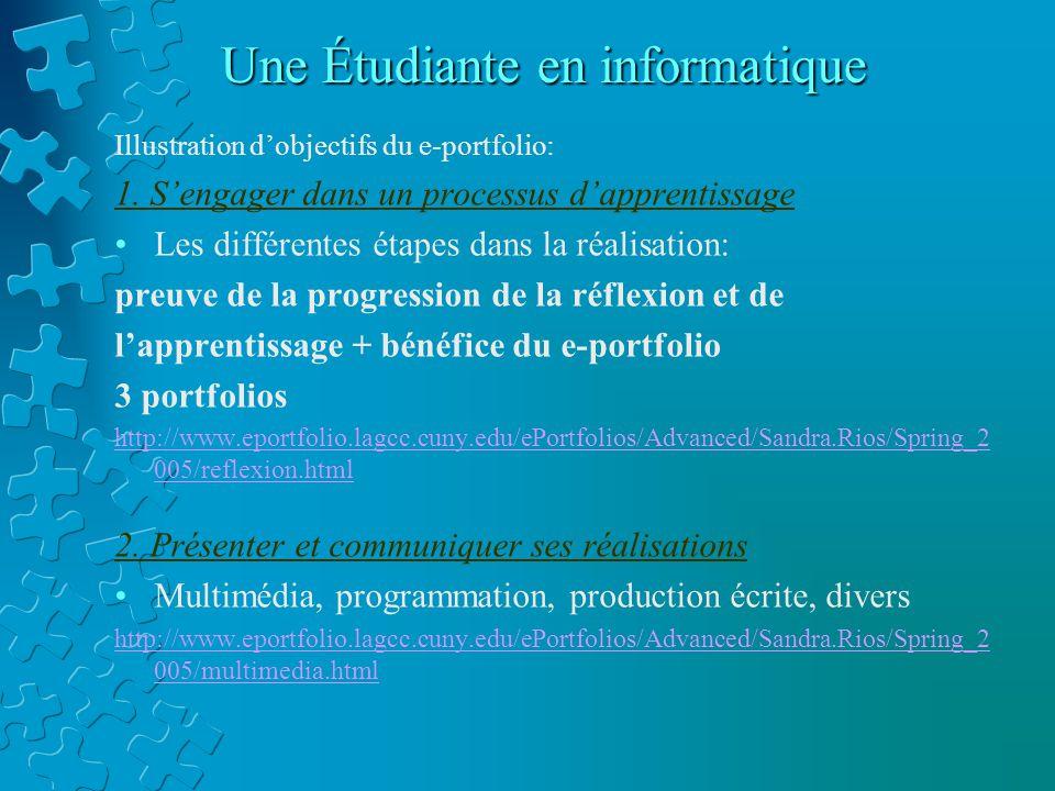 Une Étudiante en informatique Illustration d'objectifs du e-portfolio: 1.