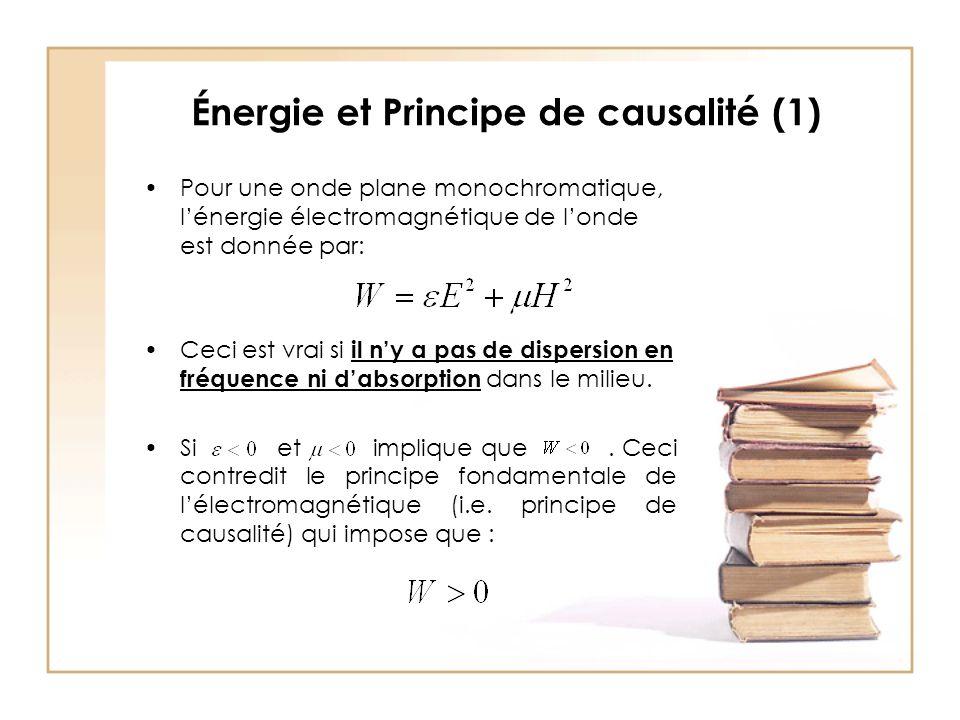 Énergie et Principe de causalité (1) Pour une onde plane monochromatique, l'énergie électromagnétique de l'onde est donnée par: Ceci est vrai si il n'y a pas de dispersion en fréquence ni d'absorption dans le milieu.