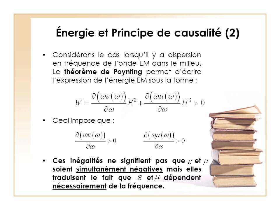 Énergie et Principe de causalité (2) Considérons le cas lorsqu'il y a dispersion en fréquence de l'onde EM dans le milieu.
