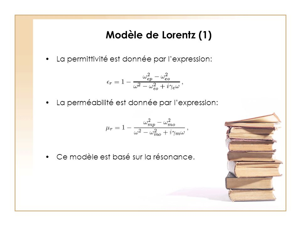 Modèle de Lorentz (1) La permittivité est donnée par l'expression: La perméabilité est donnée par l'expression: Ce modèle est basé sur la résonance.