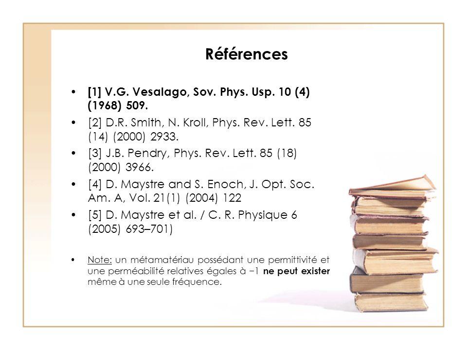 Références [1] V.G.Vesalago, Sov. Phys. Usp. 10 (4) (1968) 509.