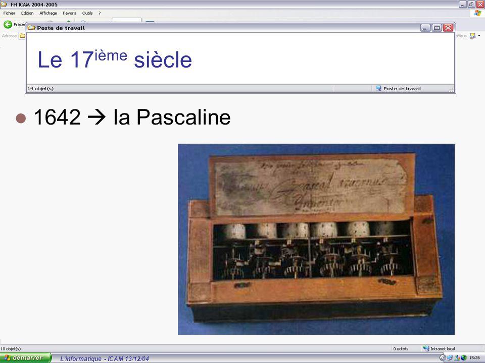 L'informatique - ICAM 13/12/04 Le 17 ième siècle 1642  la Pascaline