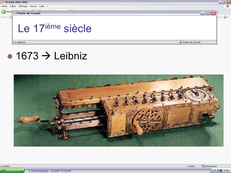 L'informatique - ICAM 13/12/04 Le 17 ième siècle 1673  Leibniz
