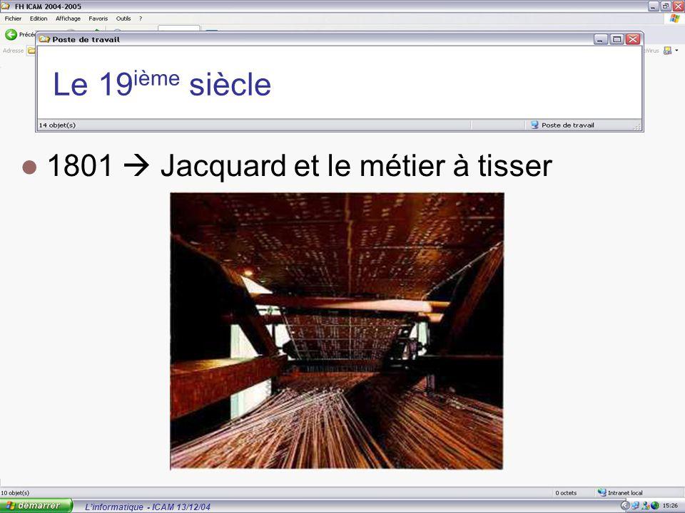L'informatique - ICAM 13/12/04 Le 19 ième siècle 1801  Jacquard et le métier à tisser