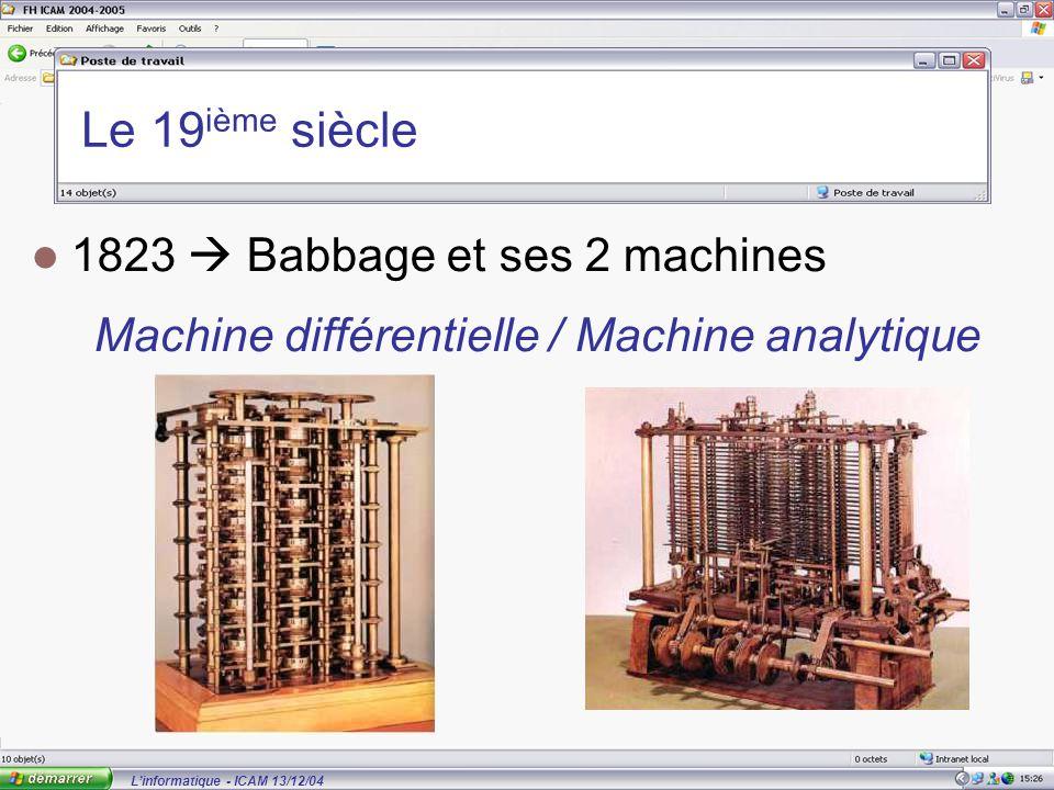 L'informatique - ICAM 13/12/04 Le 19 ième siècle 1823  Babbage et ses 2 machines Machine différentielle / Machine analytique