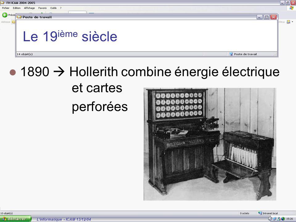 L'informatique - ICAM 13/12/04 Le 19 ième siècle 1890  Hollerith combine énergie électrique et cartes perforées