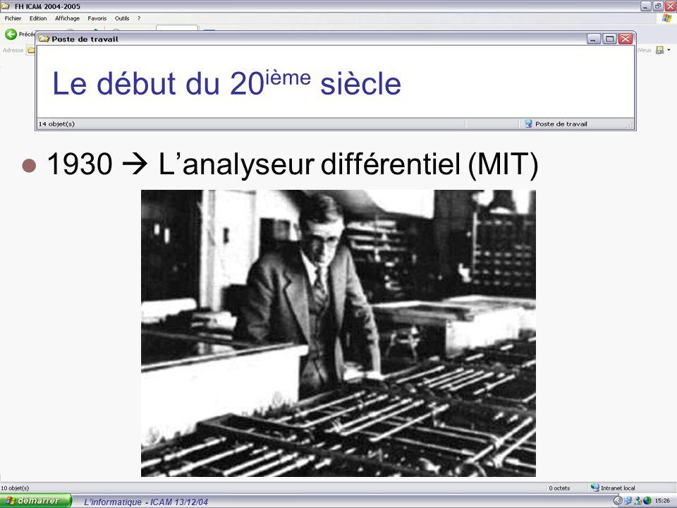 L'informatique - ICAM 13/12/04 Le début du 20 ième siècle 1930  L'analyseur différentiel (MIT)