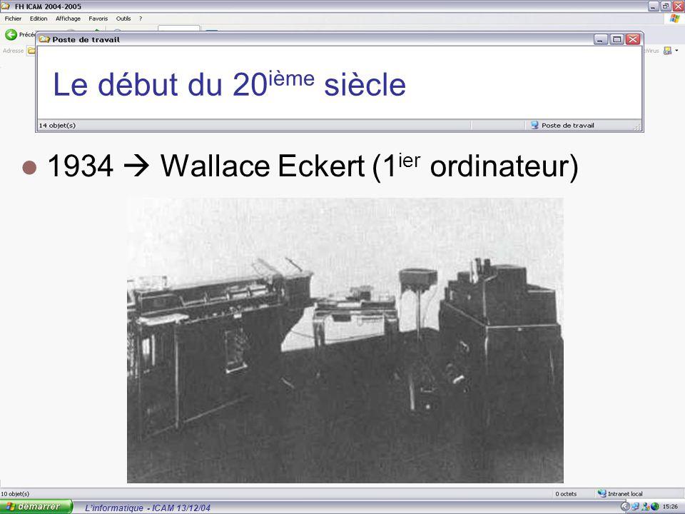 L'informatique - ICAM 13/12/04 Le début du 20 ième siècle 1934  Wallace Eckert (1 ier ordinateur)