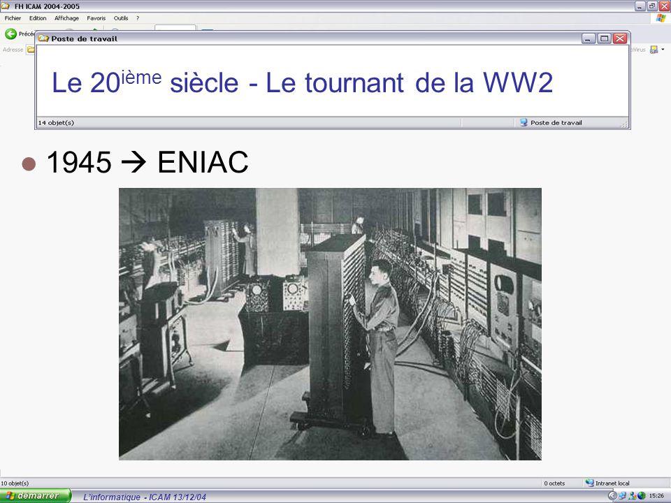 L'informatique - ICAM 13/12/04 Le 20 ième siècle - Le tournant de la WW2 1945  ENIAC