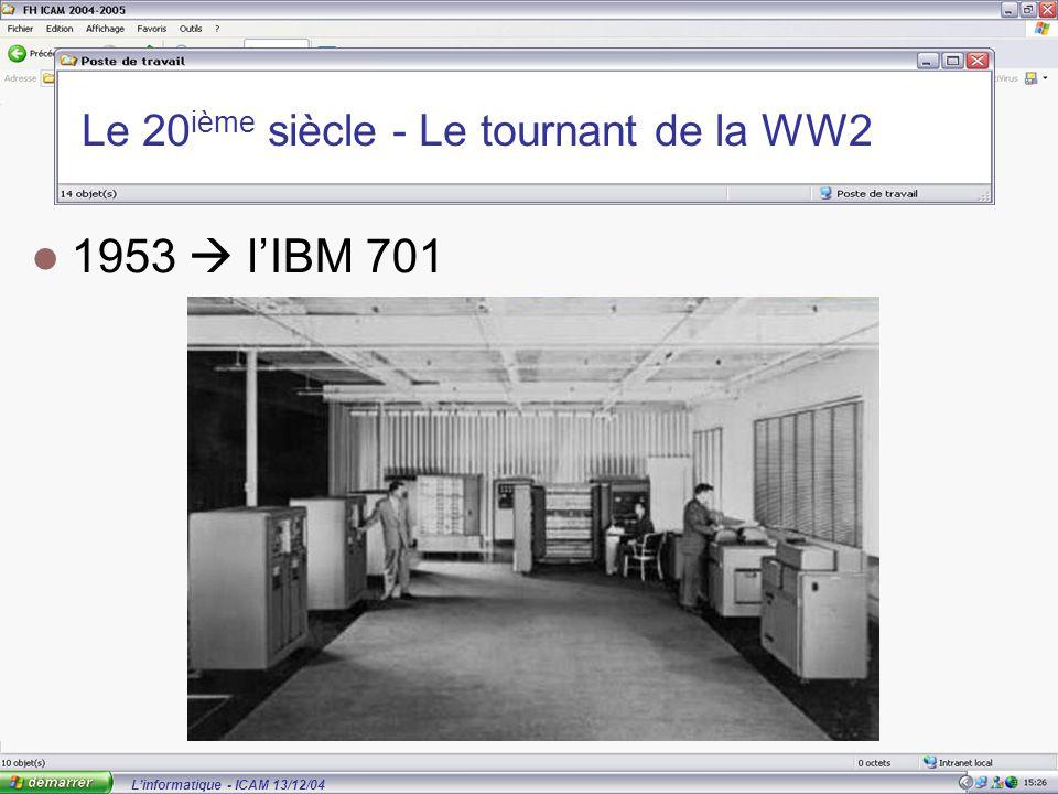 L'informatique - ICAM 13/12/04 Le 20 ième siècle - Le tournant de la WW2 1953  l'IBM 701