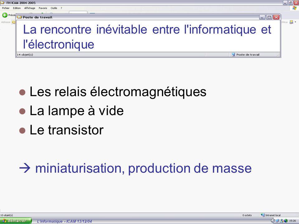 L'informatique - ICAM 13/12/04 La rencontre inévitable entre l informatique et l électronique Les relais électromagnétiques La lampe à vide Le transistor  miniaturisation, production de masse