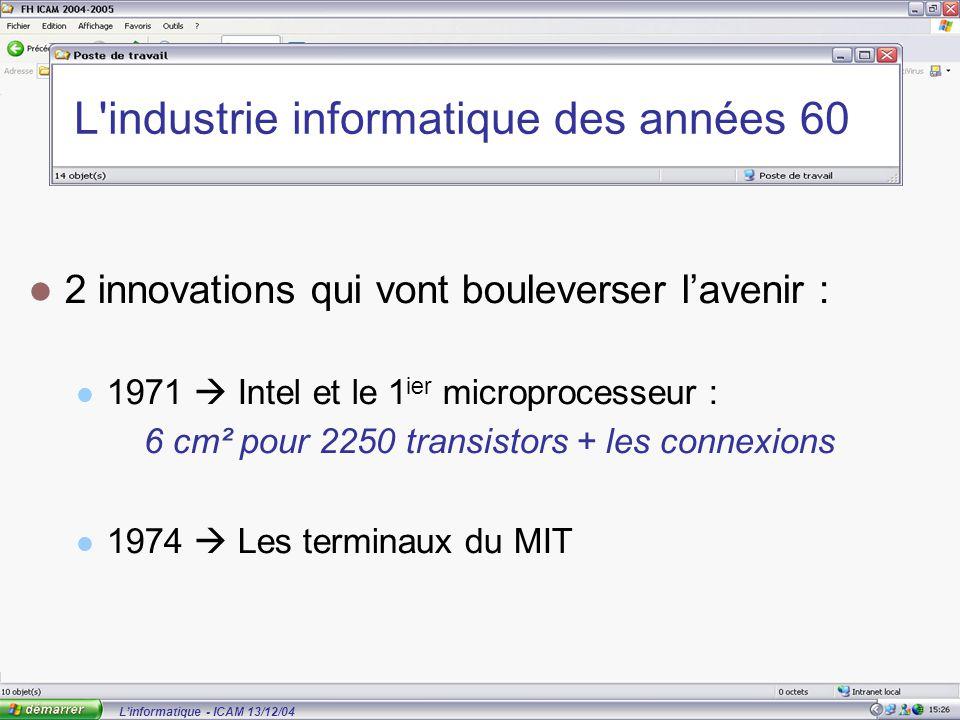 L'informatique - ICAM 13/12/04 L industrie informatique des années 60 2 innovations qui vont bouleverser l'avenir : 1971  Intel et le 1 ier microprocesseur : 6 cm² pour 2250 transistors + les connexions 1974  Les terminaux du MIT