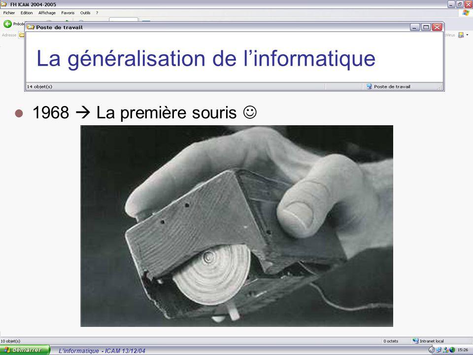 L'informatique - ICAM 13/12/04 La généralisation de l'informatique 1968  La première souris