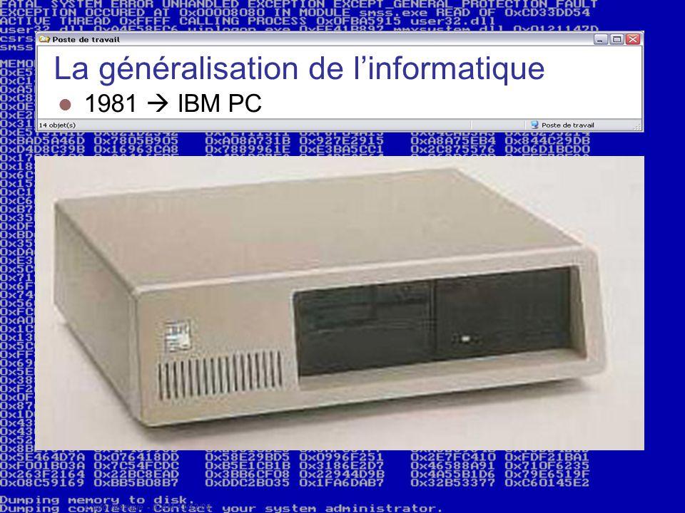 L'informatique - ICAM 13/12/04 La généralisation de l'informatique 1981  IBM PC