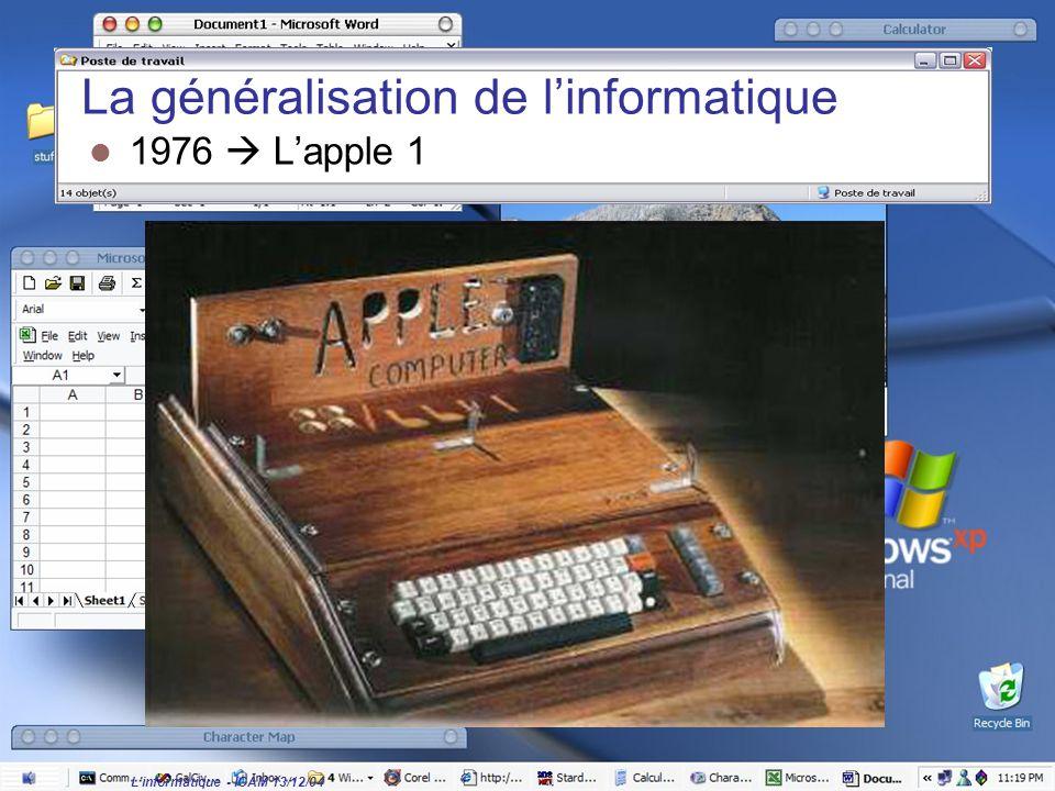 L'informatique - ICAM 13/12/04 La généralisation de l'informatique 1976  L'apple 1
