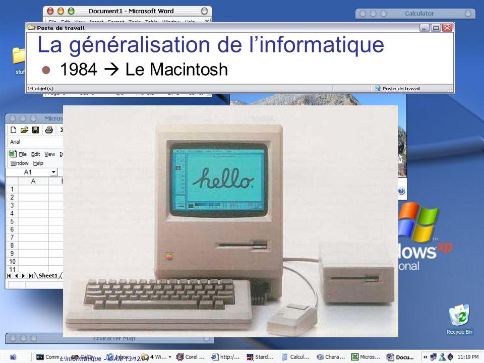 L'informatique - ICAM 13/12/04 La généralisation de l'informatique 1984  Le Macintosh