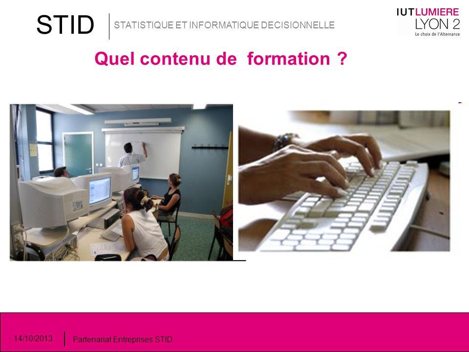 STID STATISTIQUE ET INFORMATIQUE DECISIONNELLE 14/10/2013 Partenariat Entreprises STID Quel contenu de formation ?