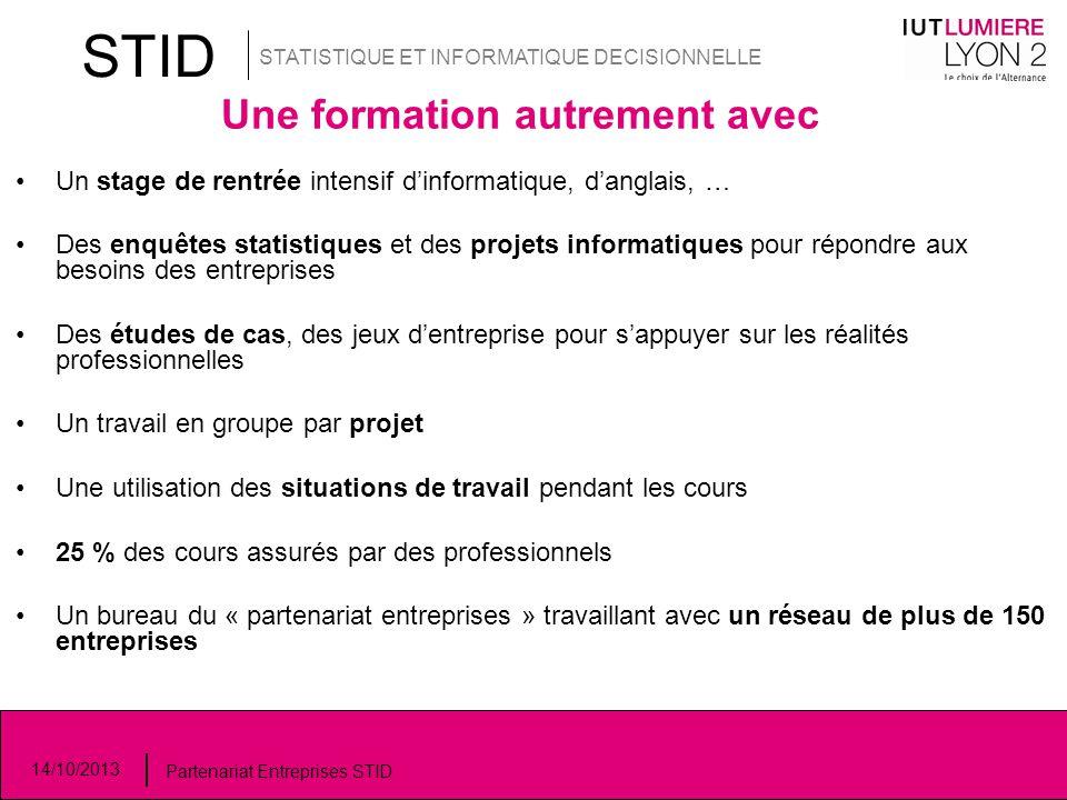 STID STATISTIQUE ET INFORMATIQUE DECISIONNELLE 14/10/2013 Partenariat Entreprises STID Une formation autrement avec Un stage de rentrée intensif d'inf