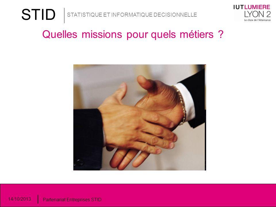 STID STATISTIQUE ET INFORMATIQUE DECISIONNELLE 14/10/2013 Partenariat Entreprises STID Quelles missions pour quels métiers ?