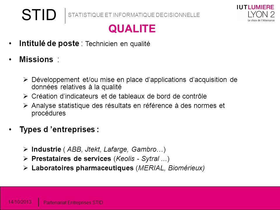 STID STATISTIQUE ET INFORMATIQUE DECISIONNELLE 14/10/2013 Partenariat Entreprises STID QUALITE Intitulé de poste : Technicien en qualité Missions : 