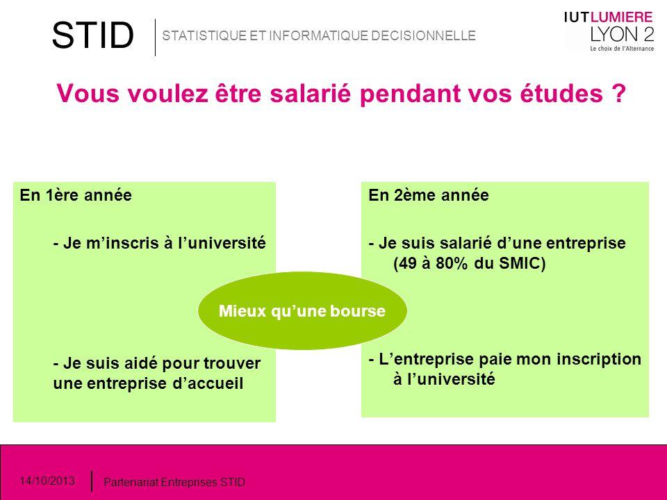 Vous voulez être salarié pendant vos études ? 14/10/2013 Partenariat Entreprises STID STID STATISTIQUE ET INFORMATIQUE DECISIONNELLE En 1ère année - J