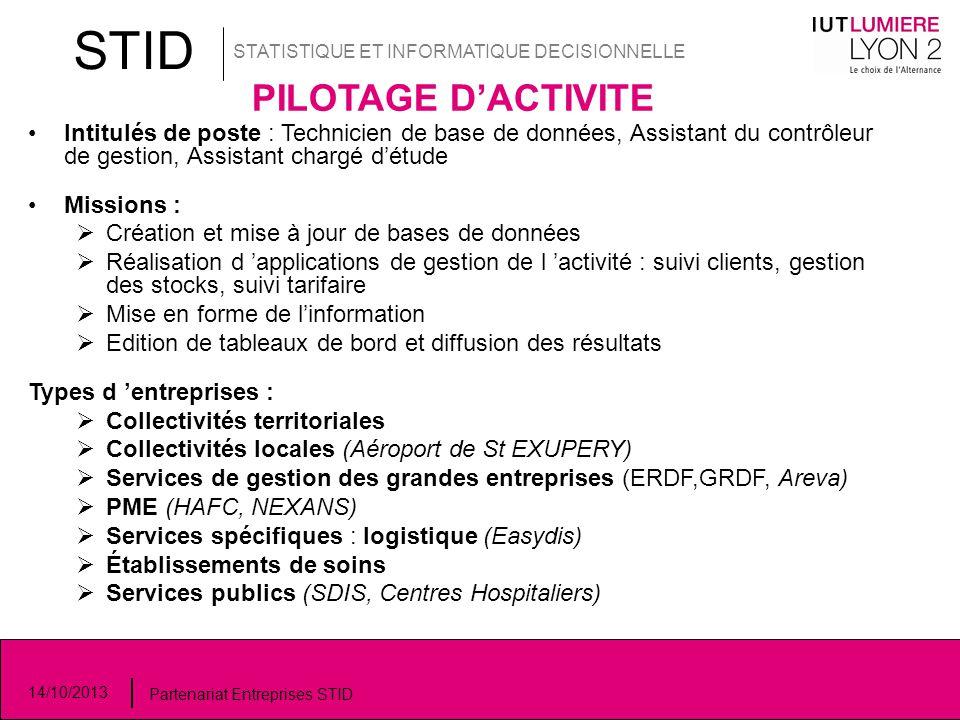 STID STATISTIQUE ET INFORMATIQUE DECISIONNELLE 14/10/2013 Partenariat Entreprises STID PILOTAGE D'ACTIVITE Intitulés de poste : Technicien de base de