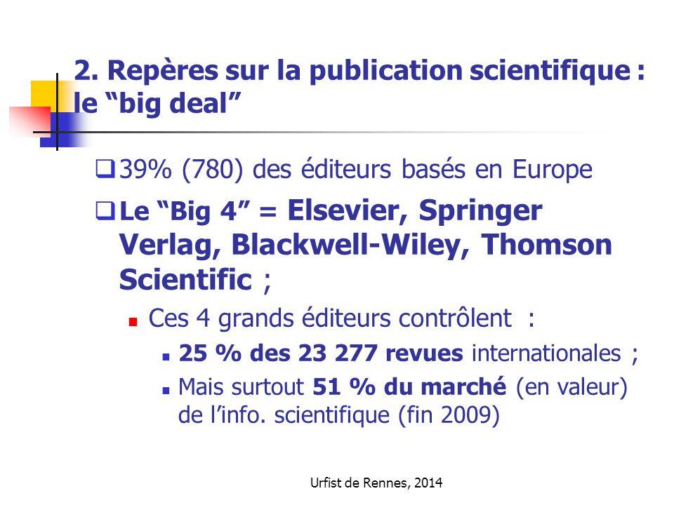 """Urfist de Rennes, 2014 2. Repères sur la publication scientifique : le """"big deal""""  39% (780) des éditeurs basés en Europe  Le """"Big 4"""" = Elsevier, Sp"""