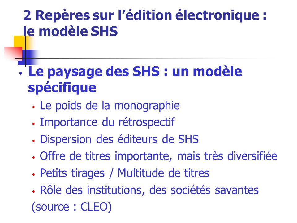 2 Repères sur l'édition électronique : le modèle SHS Le paysage des SHS : un modèle spécifique Le poids de la monographie Importance du rétrospectif D