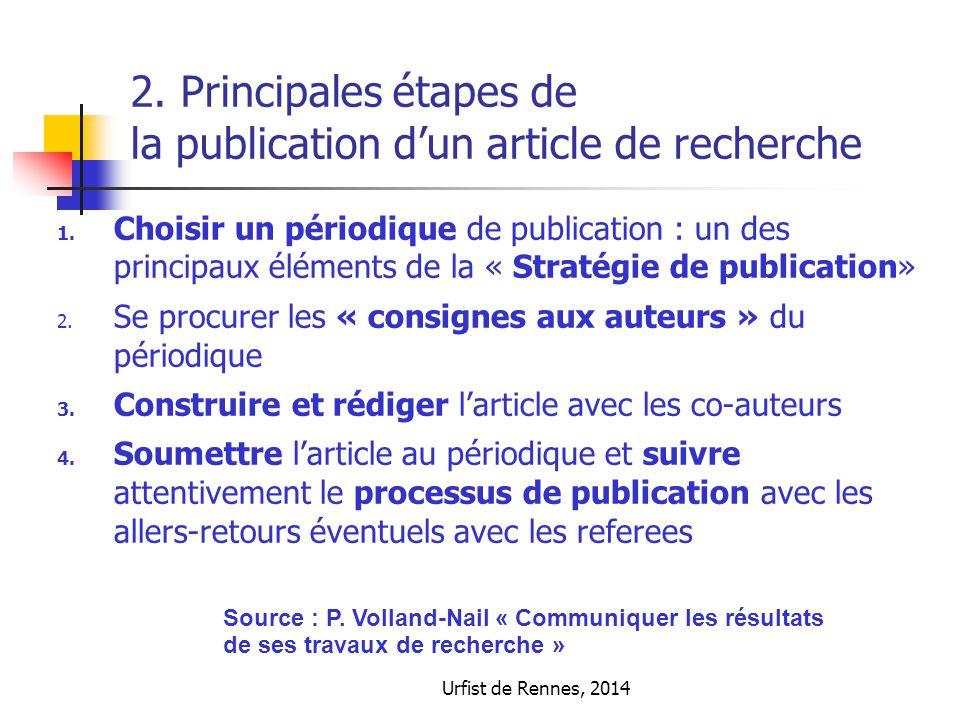 2. Principales étapes de la publication d'un article de recherche 1. Choisir un périodique de publication : un des principaux éléments de la « Stratég