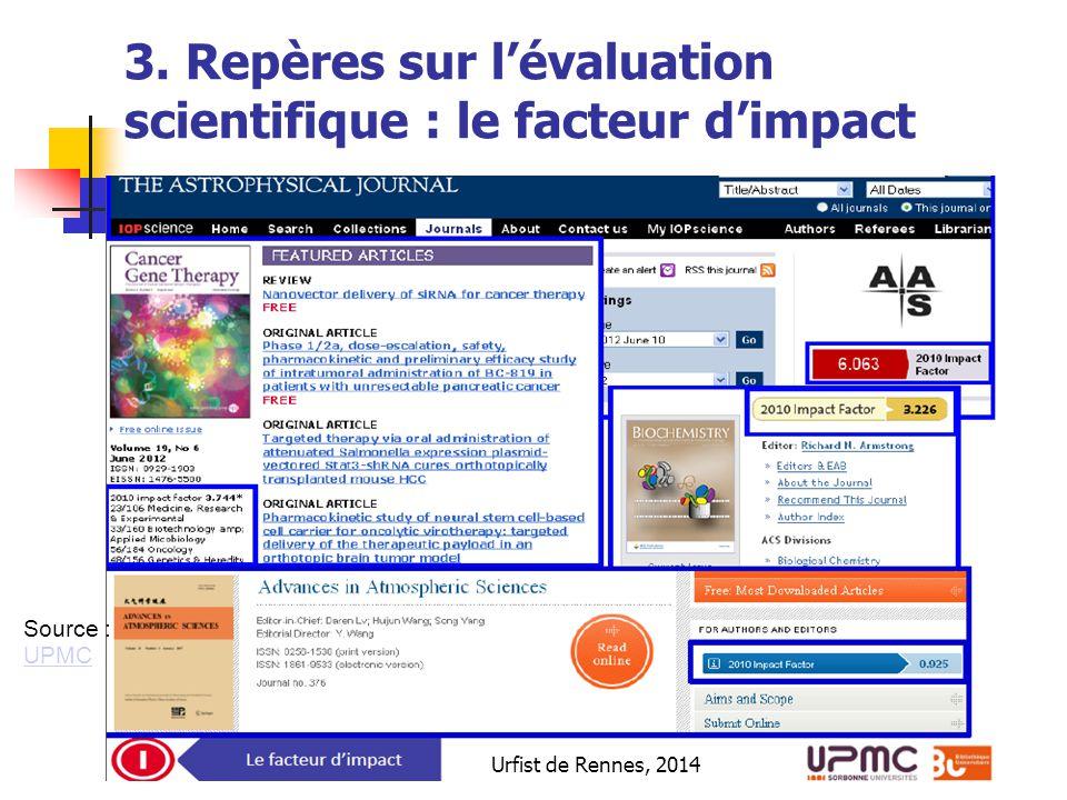 Urfist de Rennes, 2014 3. Repères sur l'évaluation scientifique : le facteur d'impact Source : UPMC